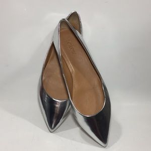 Silver Metallic Pointed Toe Flats J. Crew 9.5